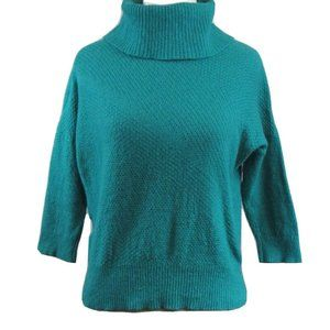 LOFT Green Wool Blend Cowlneck Sweater S